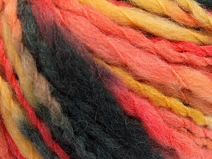 Fiber Content 50% Acrylic, 50% Wool, Yellow, Salmon, Brand ICE, Black, fnt2-57235