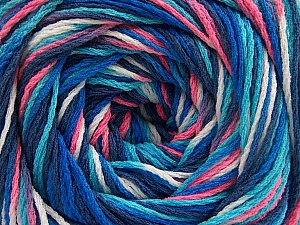 Fiber Content 100% Acrylic, White, Pink, Navy, Brand ICE, Blue Shades, Yarn Thickness 3 Light  DK, Light, Worsted, fnt2-57761