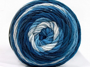 Fiber Content 100% Acrylic, White, Brand ICE, Blue Shades, Yarn Thickness 4 Medium  Worsted, Afghan, Aran, fnt2-58024