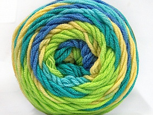 Fiber Content 100% Acrylic, Yellow, Turquoise, Light Green, Brand ICE, Blue, Yarn Thickness 4 Medium  Worsted, Afghan, Aran, fnt2-58031