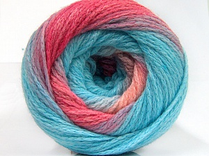 Fiber Content 90% Acrylic, 10% Polyamide, Turquoise, Pink Shades, Brand ICE, Yarn Thickness 4 Medium  Worsted, Afghan, Aran, fnt2-58120