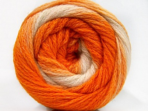 Fiber Content 90% Acrylic, 10% Polyamide, White, Orange Shades, Brand ICE, Yarn Thickness 4 Medium  Worsted, Afghan, Aran, fnt2-58124