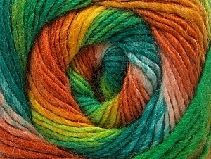 Vezelgehalte 70% Acryl, 30% Wol, Orange, Brand ICE, Green Shades, Gold, Yarn Thickness 3 Light  DK, Light, Worsted, fnt2-58148