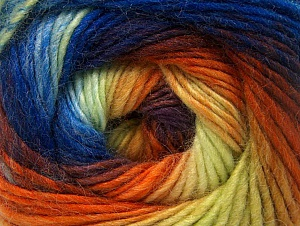 Fiber indhold 70% Akryl, 30% Uld, Yellow, Orange, Maroon, Brand ICE, Blue Shades, Yarn Thickness 3 Light  DK, Light, Worsted, fnt2-58149