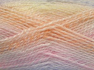 Note that this is a self-stripping yarn. Please see package photos for the color change. Machine washable and dryable. Fiberinnhold 100% Akryl, Yellow, White, Pink, Orange, Lilac, Brand ICE, fnt2-58196