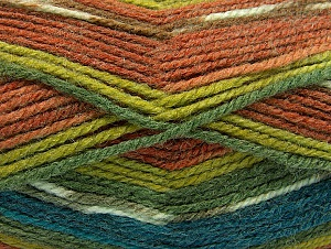 Fiber Content 50% Wool, 50% Acrylic, Turquoise, Brand ICE, Green Shades, Brown Shades, fnt2-58289