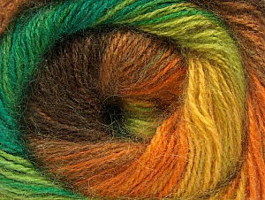 Fiber indhold 50% Akryl, 50% Mohair, Yellow, Orange, Brand ICE, Green Shades, Brown, fnt2-58365