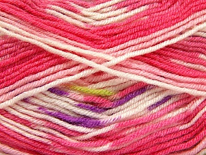 Fiber Content 75% Acrylic, 25% Wool, White, Pink, Brand ICE, Yarn Thickness 3 Light  DK, Light, Worsted, fnt2-58390