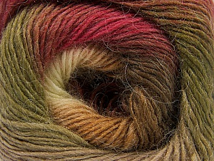 Fiber Content 60% Premium Acrylic, 20% Alpaca, 20% Wool, Brand ICE, Green, Cream, Burgundy, Brown Shades, fnt2-58401