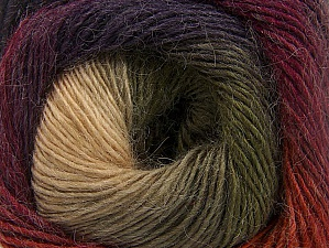 Fiber indhold 60% Præmie acryl, 20% Uld, 20% Alpaka, Purple, Orange, Brand ICE, Green, Cream, Camel, Burgundy, fnt2-58402