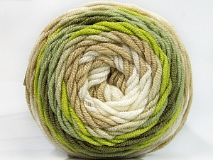 Fiber Content 100% Acrylic, Brand ICE, Green Shades, Cream, Beige, Yarn Thickness 4 Medium  Worsted, Afghan, Aran, fnt2-58457
