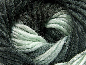 Fiber Content 50% Wool, 50% Acrylic, Light Mint Green, Brand ICE, Anthracite Black, Yarn Thickness 5 Bulky  Chunky, Craft, Rug, fnt2-58578