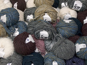 Winter Yarns This mixed lot includes a total of 2000 gr (70.5 oz.) leftover yarns. There is no standard for fiber content and weight. Also disregard any information on the labels. You will get what you see in the photo. Brand ICE, fnt2-58788