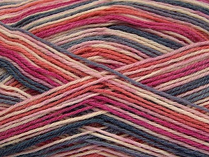 Fiber Content 75% Superwash Wool, 25% Polyamide, Salmon, Pink Shades, Brand ICE, Grey, Yarn Thickness 1 SuperFine  Sock, Fingering, Baby, fnt2-59007
