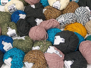 Fancy Yarns This mixed lot includes a total of 2000 gr (70.5 oz.) yarn. There is no standard for ball weight. Also disregard any information on the labels. You will get what you see in the photo. Brand ICE, fnt2-59452