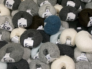 Kid Mohair Yarns This mixed lot includes a total of 2000 gr (70.5 oz.) yarn. There is no standard for ball weight. Also disregard any information on the labels. You will get what you see in the photo. Brand ICE, fnt2-59482