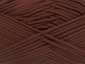 This is a tube-like yarn with soft fleece inside. Fiber Content 73% Viscose, 27% Polyester, Brand ICE, Coffee Brown, Yarn Thickness 5 Bulky  Chunky, Craft, Rug, fnt2-59497