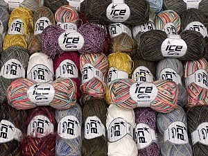 Fancy Yarns This mixed lot includes a total of 2000 gr (70.5 oz.) yarn. There is no standard for ball weight. Also disregard any information on the labels. You will get what you see in the photo. Brand ICE, fnt2-59503