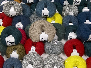 Winter Yarns This mixed lot includes a total of 2000 gr (70.5 oz.) yarn. There is no standard for ball weight. Also disregard any information on the labels. You will get what you see in the photo. Brand ICE, fnt2-59509