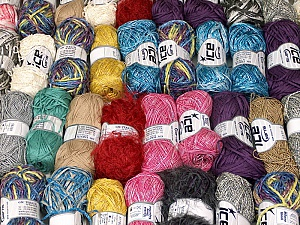 Summer Yarns This mixed lot includes a total of 2000 gr (70.5 oz.) yarn. There is no standard for ball weight. Also disregard any information on the labels. You will get what you see in the photo. Brand ICE, fnt2-59511