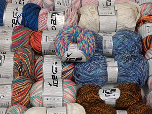 Summer Yarns This mixed lot includes a total of 2000 gr (70.5 oz.) yarn. There is no standard for ball weight. Also disregard any information on the labels. You will get what you see in the photo. Brand ICE, fnt2-59512