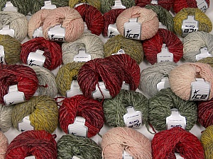 Sale Winter This mixed lot includes a total of 2000 gr (70.5 oz.) yarn. There is no standard for ball weight. Also disregard any information on the labels. You will get what you see in the photo. Fiber Content 45% Acrylic, 45% Wool, 10% Polyamide, Brand ICE, fnt2-59640
