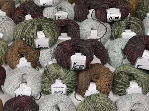 Sale Winter This mixed lot includes a total of 2000 gr (70.5 oz.) yarn. There is no standard for ball weight. Also disregard any information on the labels. You will get what you see in the photo. Fiber Content 45% Acrylic, 45% Wool, 10% Polyamide, Brand ICE, fnt2-59643