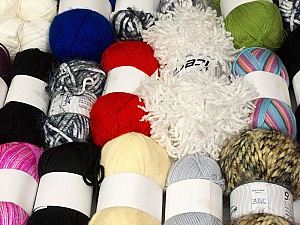 Fancy Yarns This mixed lot includes a total of 2000 gr (70.5 oz.) yarn. There is no standard for fiber content and weight. Also disregard any information on the labels. You will get what you see in the photo. Brand ICE, fnt2-59681