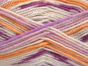 Fiber Content 100% Acrylic, White, Lilac Shades, Light Orange, Brand ICE, Yarn Thickness 4 Medium  Worsted, Afghan, Aran, fnt2-59726
