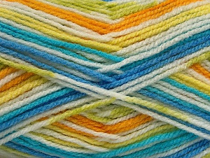 Fiber Content 100% Acrylic, White, Turquoise, Brand ICE, Green, Gold, Blue, Yarn Thickness 4 Medium  Worsted, Afghan, Aran, fnt2-59729
