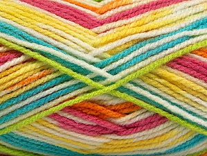 Fiber Content 100% Acrylic, Yellow, White, Turquoise, Pink, Orange, Brand ICE, Green, Yarn Thickness 4 Medium  Worsted, Afghan, Aran, fnt2-59730