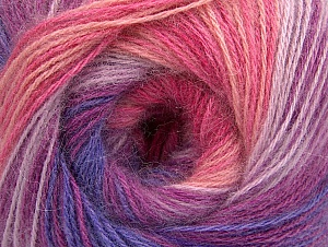Fiber Content 60% Acrylic, 20% Angora, 20% Wool, Yellow, White, Purple, Pink Shades, Lilac Shades, Brand ICE, fnt2-59753