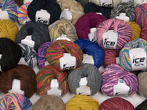 Winter Yarns This mixed lot includes a total of 2000 gr (70.5 oz.) yarn. There is no standard for ball weight. Also disregard any information on the labels. You will get what you see in the photo. Brand ICE, fnt2-59864