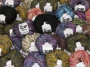 Fancy Yarns This mixed lot includes a total of 2000 gr (70.5 oz.) yarn. There is no standard for fiber content and weight. Also disregard any information on the labels. You will get what you see in the photo. Brand ICE, fnt2-59871