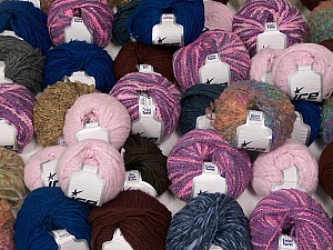 Fancy Yarns This mixed lot includes a total of 2000 gr (70.5 oz.) yarn. There is no standard for fiber content and weight. Also disregard any information on the labels. You will get what you see in the photo. Brand ICE, fnt2-59876