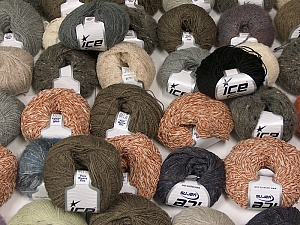 Winter Yarns This mixed lot includes a total of 2000 gr (70.5 oz.) yarn. There is no standard for ball weight. Also disregard any information on the labels. You will get what you see in the photo. Brand ICE, fnt2-59883