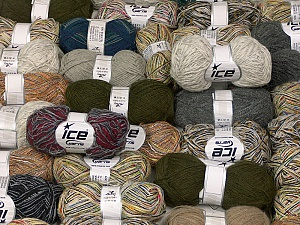 Fancy Yarns This mixed lot includes a total of 2000 gr (70.5 oz.) yarn. There is no standard for fiber content and weight. Also disregard any information on the labels. You will get what you see in the photo. Brand ICE, fnt2-59884