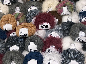 Winter Yarns This mixed lot includes a total of 2000 gr (70.5 oz.) yarn. There is no standard for ball weight. Also disregard any information on the labels. You will get what you see in the photo. Brand ICE, fnt2-59927