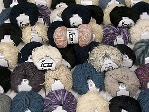 Winter Yarns This mixed lot includes a total of 2000 gr (70.5 oz.) yarn. There is no standard for ball weight. Also disregard any information on the labels. You will get what you see in the photo. Brand ICE, fnt2-59930
