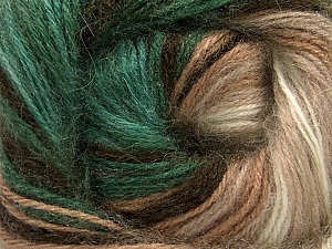 Fiber Content 60% Premium Acrylic, 20% Angora, 20% Wool, Brand ICE, Green, Cream, Brown Shades, Yarn Thickness 2 Fine  Sport, Baby, fnt2-60241