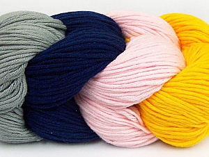 Fiber Content 50% Acrylic, 50% Cotton, Pink, Navy, Brand ICE, Grey, Dark Yellow, Yarn Thickness 3 Light  DK, Light, Worsted, fnt2-60263