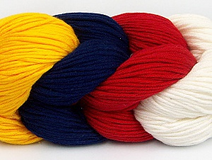 Fiber Content 50% Acrylic, 50% Cotton, Red, Navy, Brand ICE, Ecru, Dark Yellow, Yarn Thickness 3 Light  DK, Light, Worsted, fnt2-60265