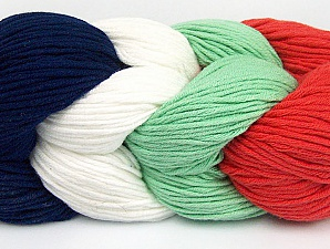You will love the cotton & acrylic blend of Iceyarns Art color cotton. Art color cotton is a DK weight yarn in delightful 4 color combinations.<br>Each 100 gram hank is made up of 4 individual small hanks .Each small hank is 25 gr / 57 yds. You can simply separate small hanks.<br>Each color is separate. In this way,  you can start from the color you want and create your color combinations. Fiber Content 50% Acrylic, 50% Cotton, White, Salmon, Navy, Mint Green, Brand ICE, Yarn Thickness 3 Light  DK, Light, Worsted, fnt2-60266