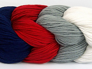 Fiber Content 50% Acrylic, 50% Cotton, White, Red, Navy, Brand ICE, Grey, Yarn Thickness 3 Light  DK, Light, Worsted, fnt2-60268