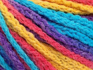 Fiber Content 50% Polyamide, 50% Acrylic, Yellow, Turquoise, Salmon, Purple, Brand ICE, Yarn Thickness 4 Medium  Worsted, Afghan, Aran, fnt2-60445