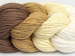 You will love the cotton & acrylic blend of Iceyarns Art color cotton. Art color cotton is a DK weight yarn in delightful 4 color combinations.<br>Each 100 gram hank is made up of 4 individual small hanks .Each small hank is 25 gr / 57 yds. You can simply separate small hanks.<br>Each color is separate. In this way,  you can start from the color you want and create your color combinations. Fiber Content 50% Acrylic, 50% Cotton, White, Brand ICE, Cream, Camel, Cafe Latte, Yarn Thickness 3 Light  DK, Light, Worsted, fnt2-60455