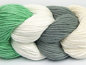 You will love the cotton & acrylic blend of Iceyarns Art color cotton. Art color cotton is a DK weight yarn in delightful 4 color combinations.<br>Each 100 gram hank is made up of 4 individual small hanks .Each small hank is 25 gr / 57 yds. You can simply separate small hanks.<br>Each color is separate. In this way,  you can start from the color you want and create your color combinations. Fiber Content 50% Acrylic, 50% Cotton, White, Mint Green, Brand ICE, Grey, Cream, Yarn Thickness 3 Light  DK, Light, Worsted, fnt2-60457