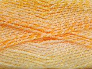 Note that this is a self-stripping yarn. Please see package photos for the color change. Machine washable and dryable. Fiber Content 100% Acrylic, Yellow, White, Brand ICE, Gold, Yarn Thickness 3 Light  DK, Light, Worsted, fnt2-60875