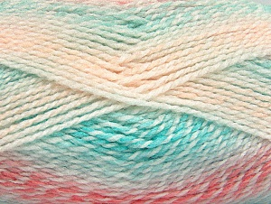 Note that this is a self-stripping yarn. Please see package photos for the color change. Machine washable and dryable. Fiber Content 100% Acrylic, White, Salmon Shades, Mint Green, Brand ICE, Yarn Thickness 3 Light  DK, Light, Worsted, fnt2-60876