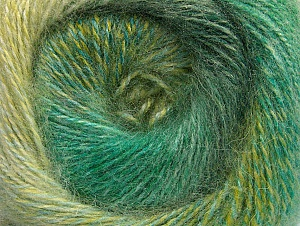 Fiber Content 75% Premium Acrylic, 15% Wool, 10% Mohair, Brand ICE, Green Shades, Yarn Thickness 2 Fine  Sport, Baby, fnt2-61007
